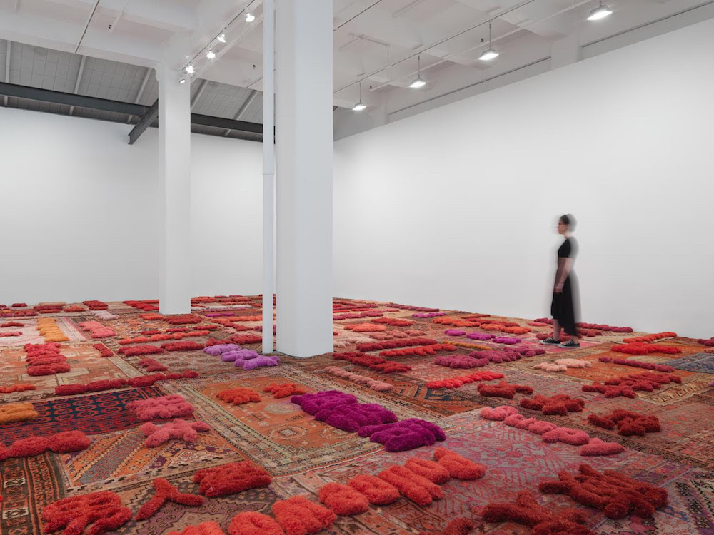 """Installation view of """"Lin Tianmiao: Protruding Patterns"""" at Galerie Lelong, New York, in 2017. Image courtesy Galerie Lelong."""