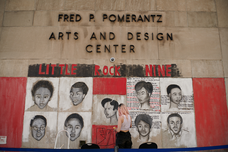 "Tribute mural to Little Rock Nine by Maeve Cahill, part of FIT's Black Student Union's public art exhibition ""#ChalkThatTalk"" held in June in support of the Black Lives Matter movement. Photo courtesy of FIT."