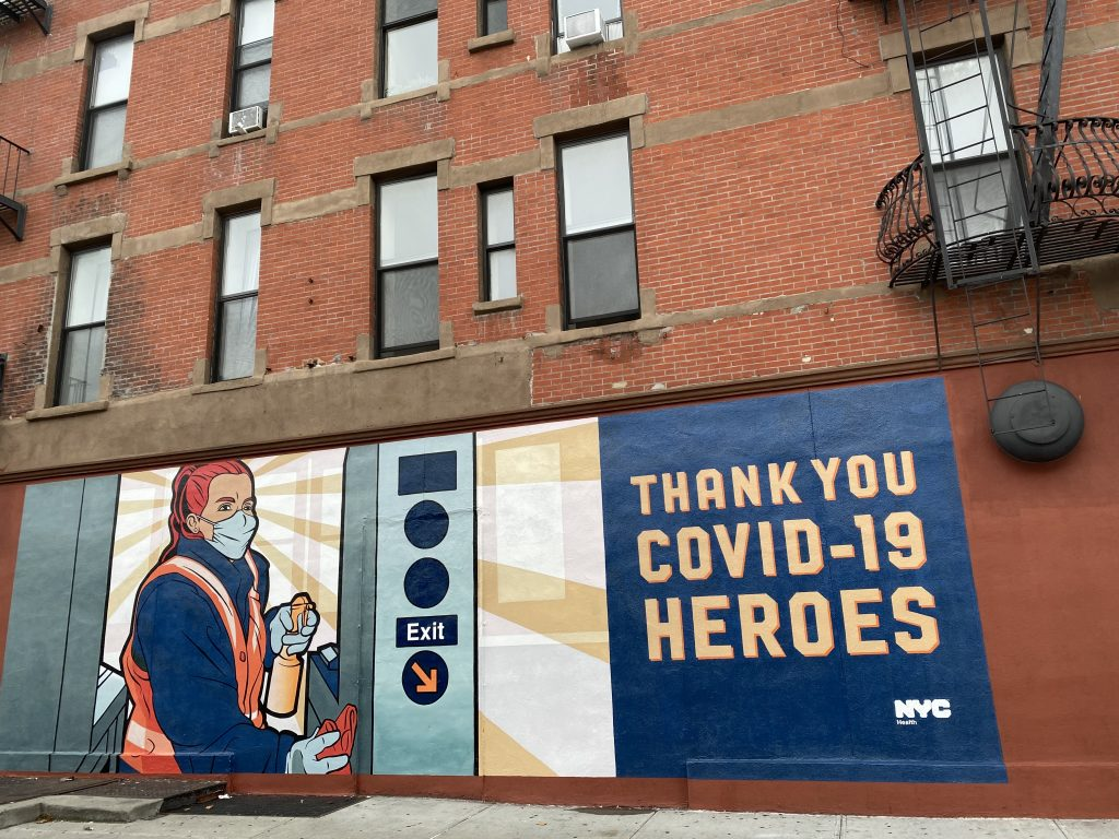 NYC Health street art thanking MTA cleaning crews in Harlem. Photo by Sarah Cascone.