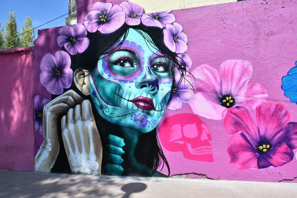 Urban artist Roberto Islas's Day of the Dead mural in memory of the victims who have lost their lives to the COVID-19 disease on October 30, 2020 in Mexico City, Mexico. Photo by Carlos Tischler/Eyepix Group/Barcroft Studios/Future Publishing via Getty Images.