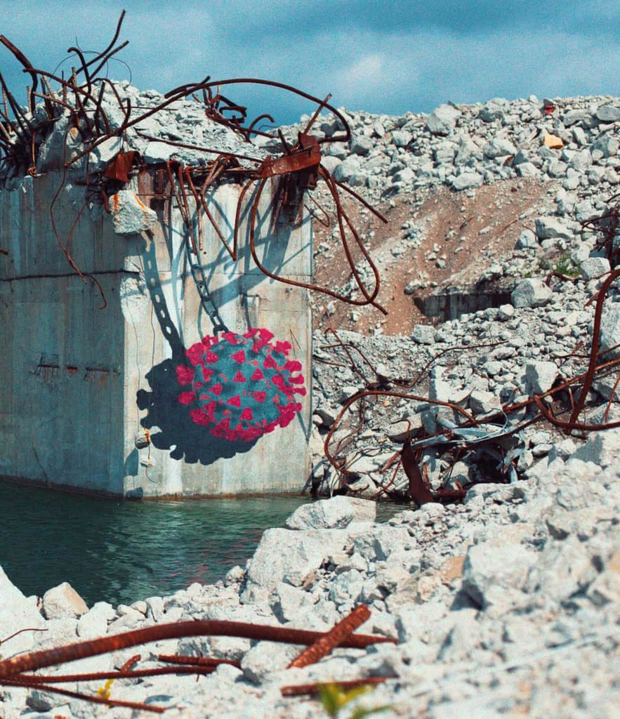 "A coronavirus themed street art piece by Sean ""Hula"" Yoro in Miami. Photo courtesy of Kapu Collective."