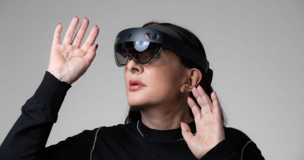 Promo image featuring Marina Abramovic wearing the HoloLens 2 headset Photo: Microsoft.