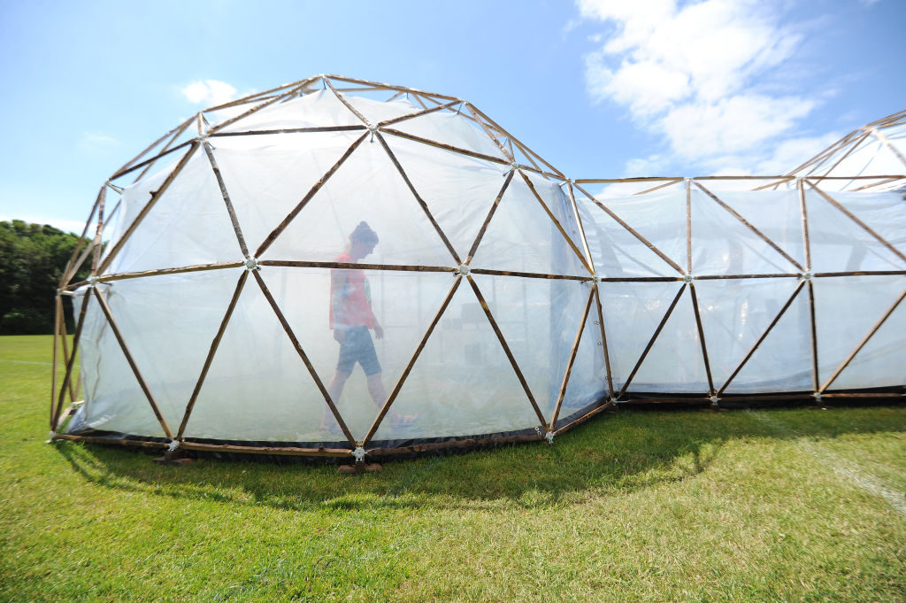 Michael Pinsky's Pollution Pods. Photo by Finnbarr Webster/Getty Images.