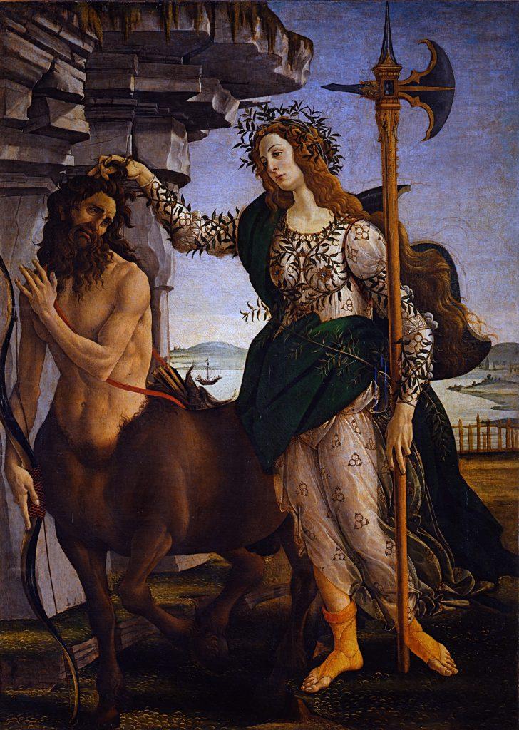 Sandro Botticelli, Pallas and the Centaur (1482). Courtesy of Wikimedia.