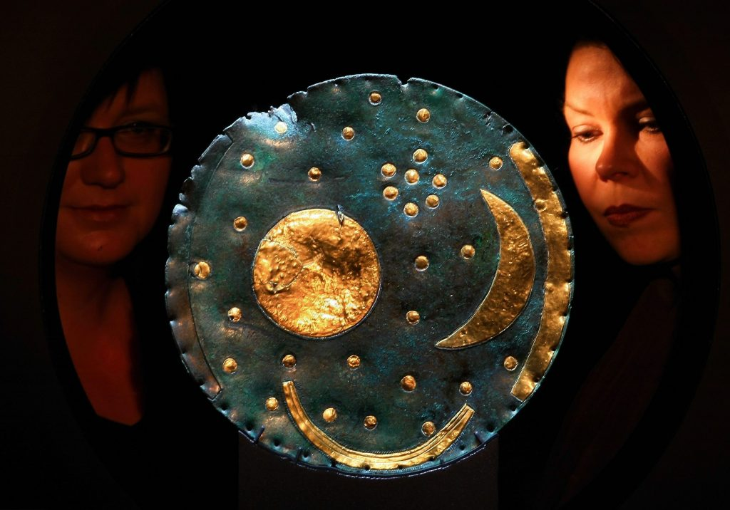 The Nebra Sky Disk on viewe at the State Museum for Prehistory in Halle, Germany. Photo by Schellhorn/ullstein bild via Getty Images.