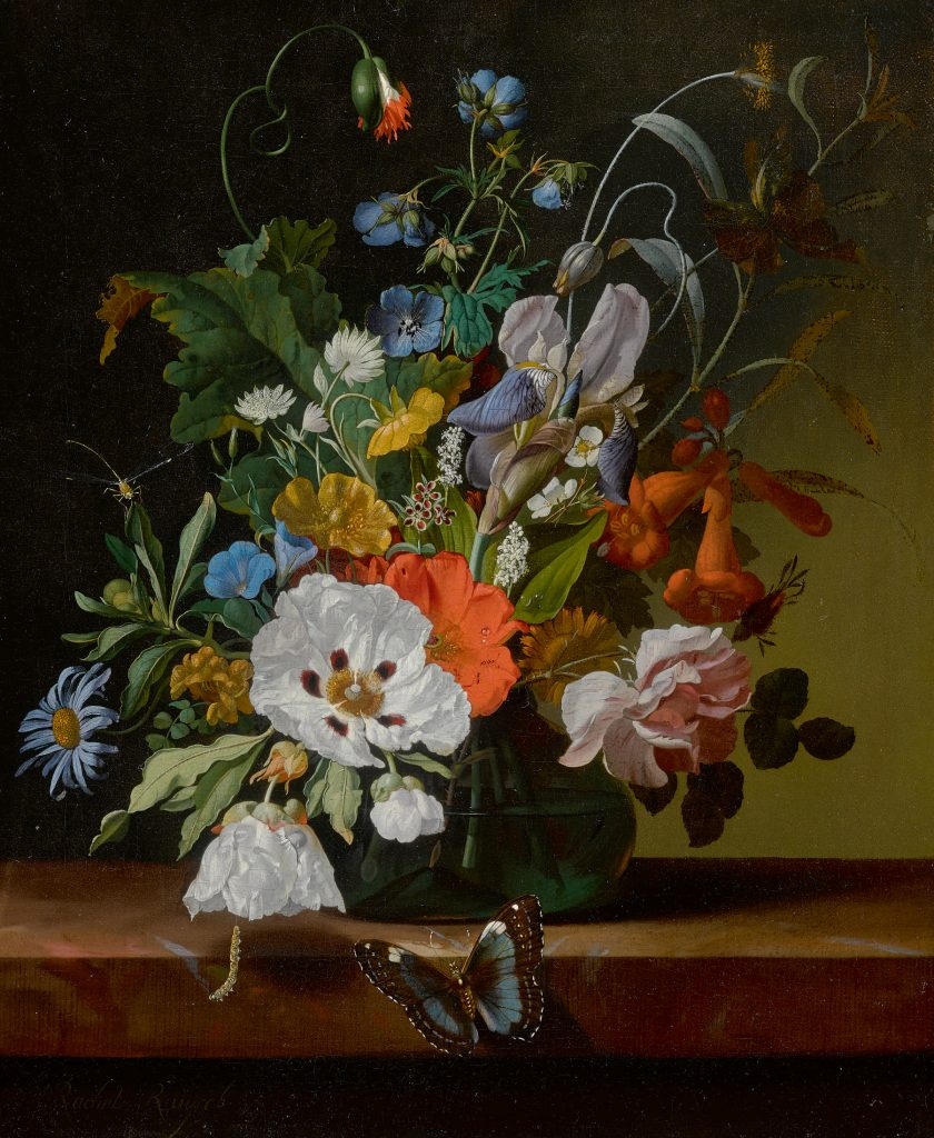 Rachel Ruysch, Still life with flowers in a vase on a ledge with a dragonfly, caterpillar, and butterfly (1698).