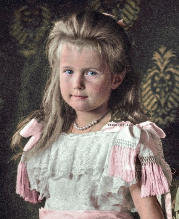 The recently colorized photo that is allegedly the basis for the portrait of Grand Duchess Anastasia on the Wedding Anniversary Egg.