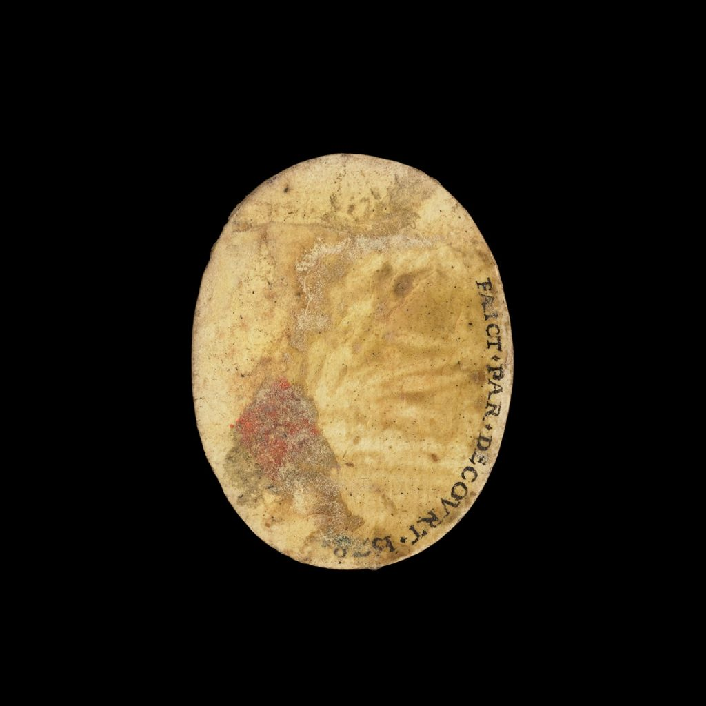 The back side of Jean Decourt's miniature portrait of Henri III, bearing the artists signature. Courtesy of Philip Mould & Company.Courtesy of Philip Mould & Company.