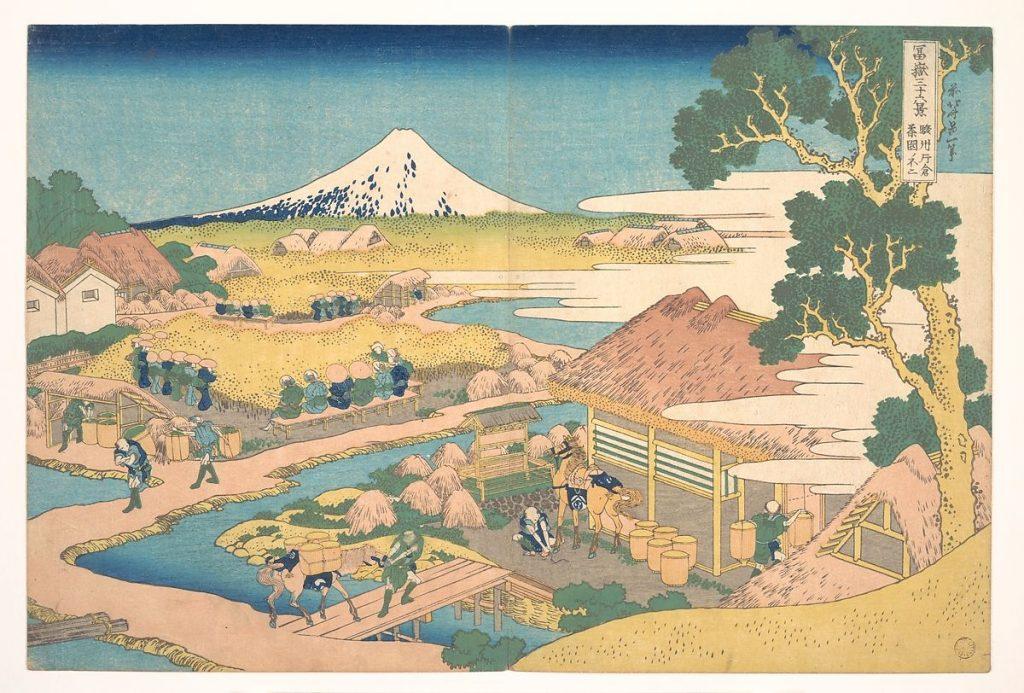 "Katsushika Hokusai, Fuji from the Katakura Tea Fields in Suruga from the series ""Thirty-six Views of Mount Fuji"" (1830–1832). Collection of the Metropolitan Museum of Art."