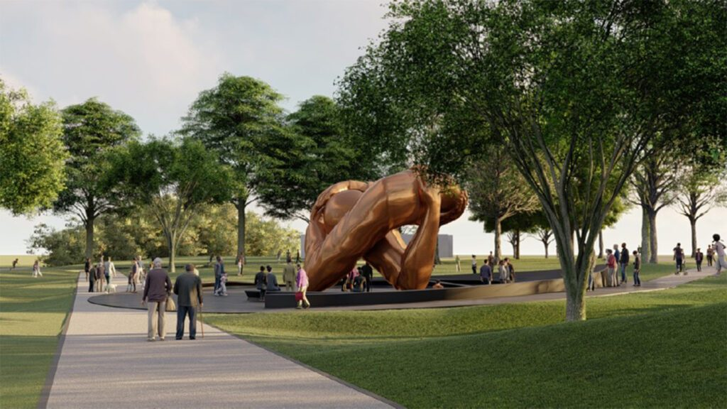 A rendering of<i>The Embrace</i> on the Boston Common. Courtesy of King Boston.