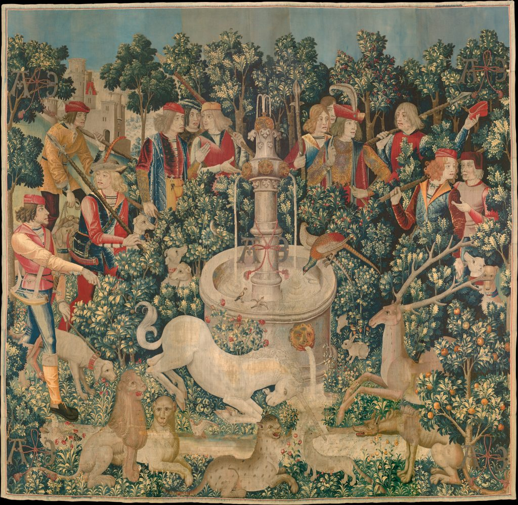 "A classic Flemish mille-fleurs tapestry ""The Triumph of Death, or the Three Fates"" (circa 1510–20)."