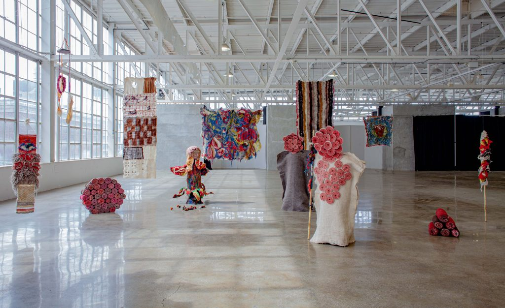 "Installation view of Sundaram's work in ""Parsons MFA Textiles: Hybrid"" at Mana Contemporary last fall. Photo courtesy Sagarika Sundaram."