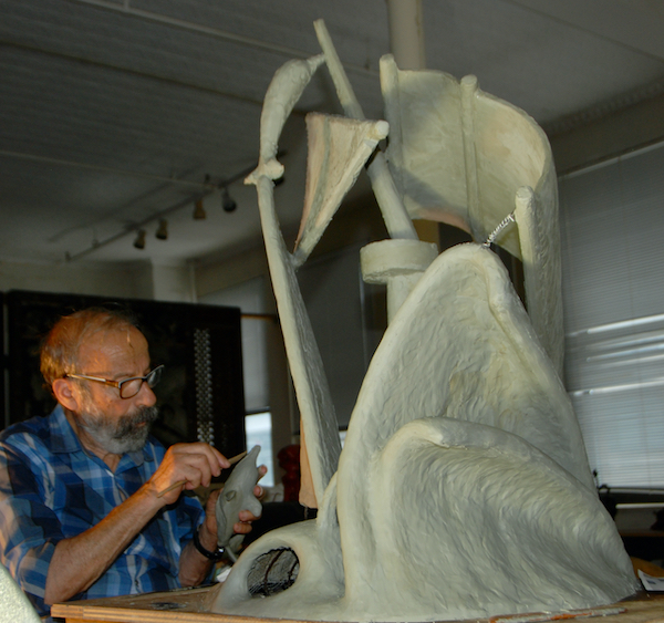 Arturo DiModica working on his unrealized Battery Park monument <em>Unfinished Journey</em> in his Church Street studio in New York in 2016. Photo courtesy of Arthur Piccolo.