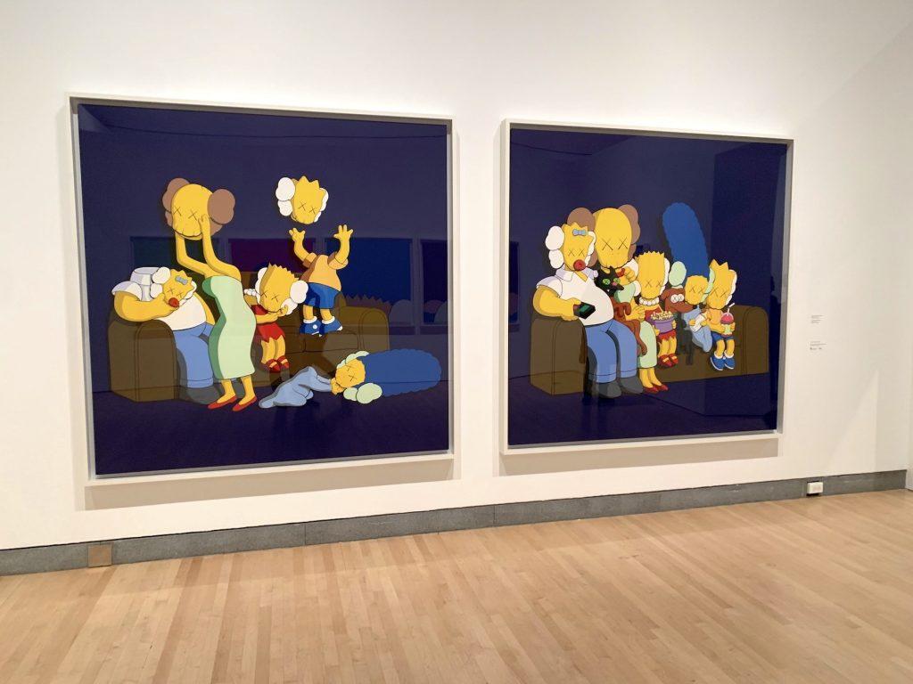 KAWS, <em>Untitled (Kimpsons #2)</em> (2004) and <em>Untitled (Kimpsons)</em> (2004). (Photo by Ben Davis)
