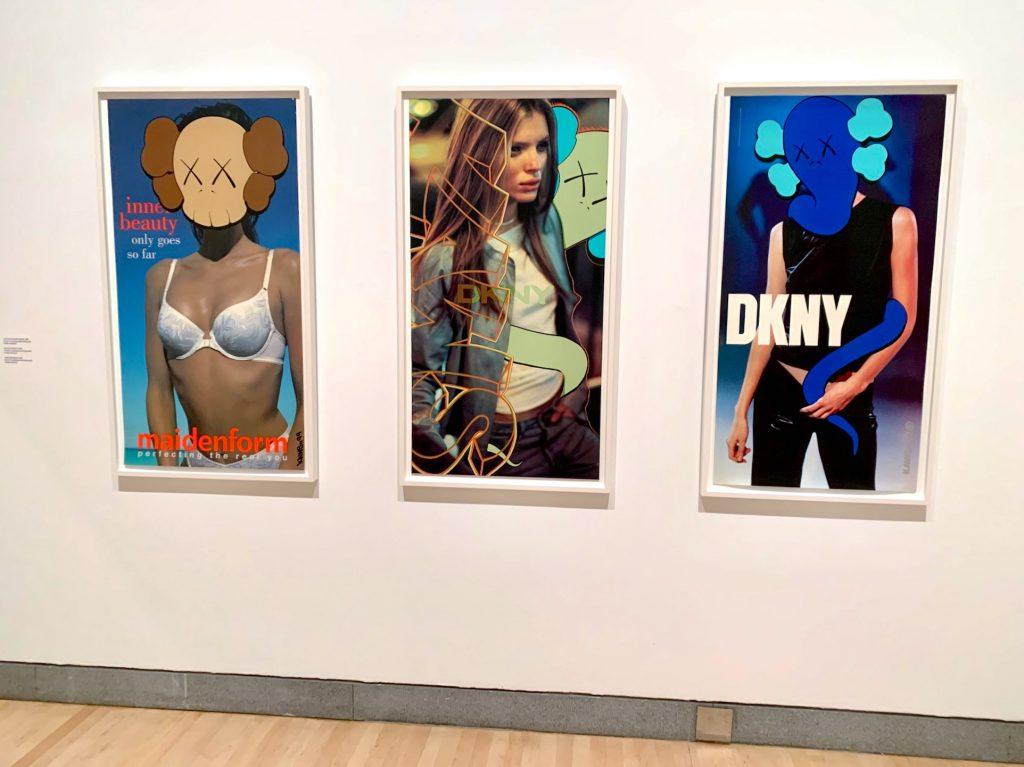 KAWS, <em>Untitled (Maidenform)</em> (1999), <em>Untitled (DKNY)</em> (1999), and <em>Untitled (DKNY)</em> (1997). (Photo by Ben Davis)