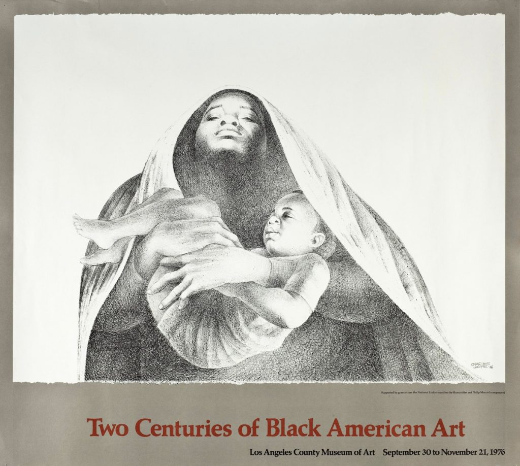"""Poster for David Driskall's """"Two Century of Black American Art"""" at LACMA, featuring Charles White, <em>I Have a Dream</em> (1976)."""