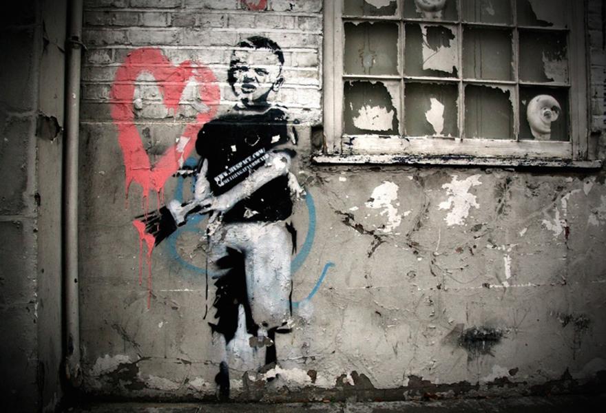 Banksy, <em>Heart Boy</em> (2009). Photo courtesy of the Moco Museum Amsterdam.