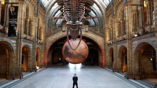 "The ""Mars"" installation by Luke Jerram at Natural History Museum on January 29, 2021 in London, England. Photo by Chris Jackson/Getty Images."