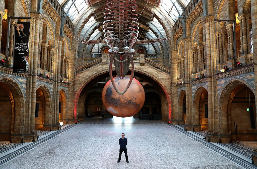 """The """"Mars"""" installation by Luke Jerram at Natural History Museum on January 29, 2021 in London, England. Photo by Chris Jackson/Getty Images."""