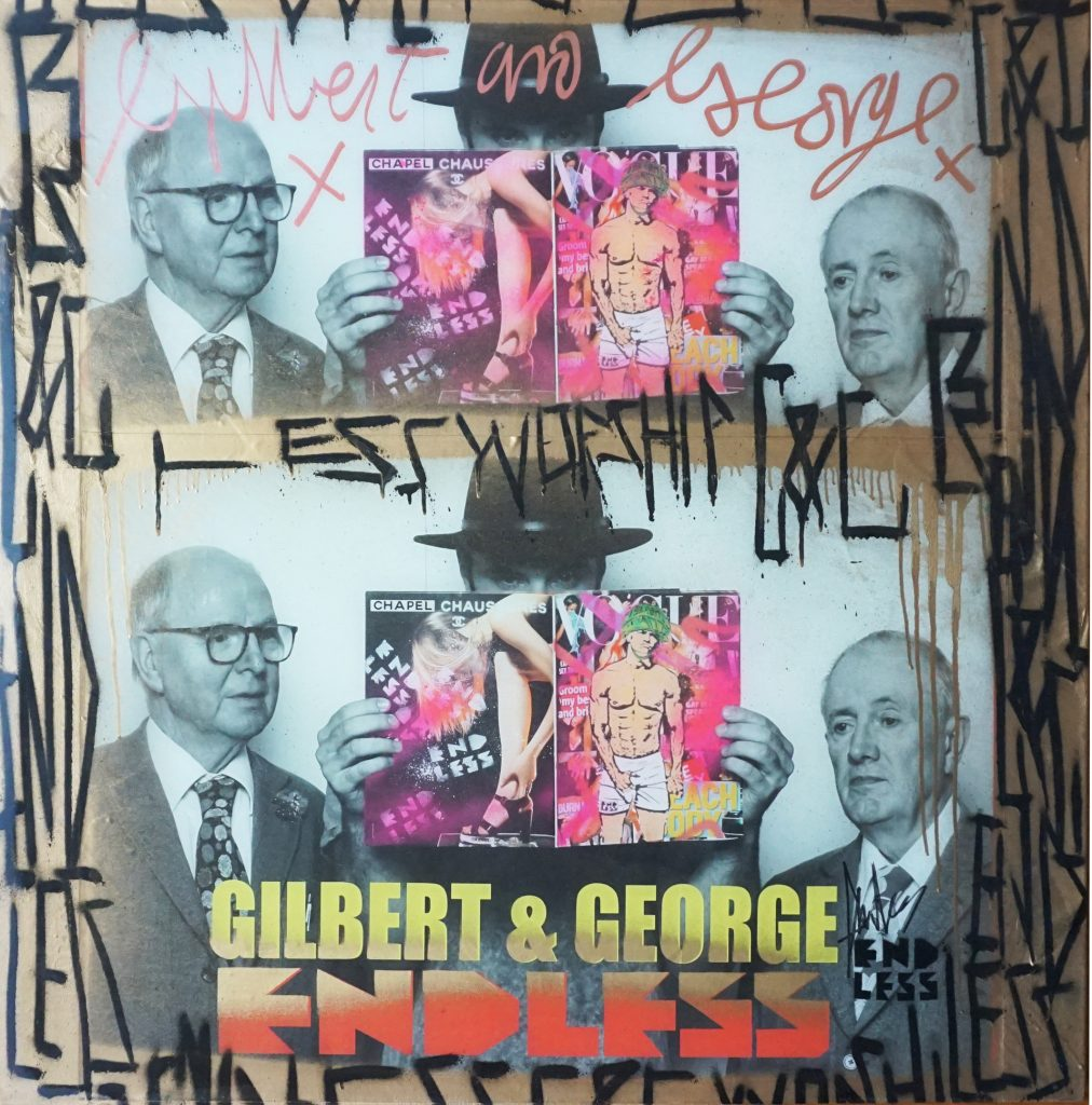British street artist Endless has donated this work featuring Gilbert and George and his Crotch Grab artwork appropriating Mark Wahlberg's Calvin Klein ad to the Uffizi in Florence. Photo courtesy of Uffizi Galleries
