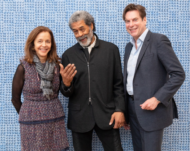 """Rachel Lehmann ,McArthur Binion, and David Maupin at the opening dinner for Binion's exhibition """"Hand:Work"""" (2019). Courtesy the artists and Lehmann Maupin, New York, Hong Kong, Seoul, and London."""