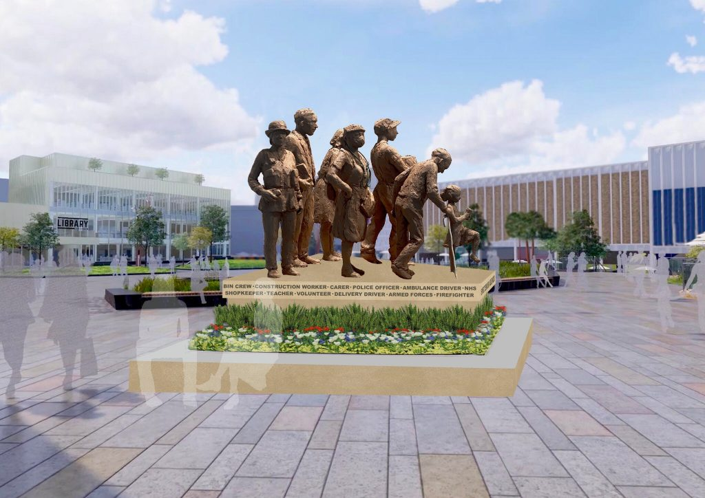 Graham Ibbeson's design for a planned COVID-19 memorial in Barnsley, UK. Image by Graham Ibbeson, courtesy of Barnsley Council.