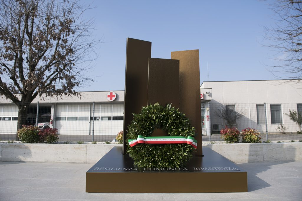 A memorial for the victims of coronavirus in Codogno, Italy. Photo by Stefano S. Guidi/Getty Images.