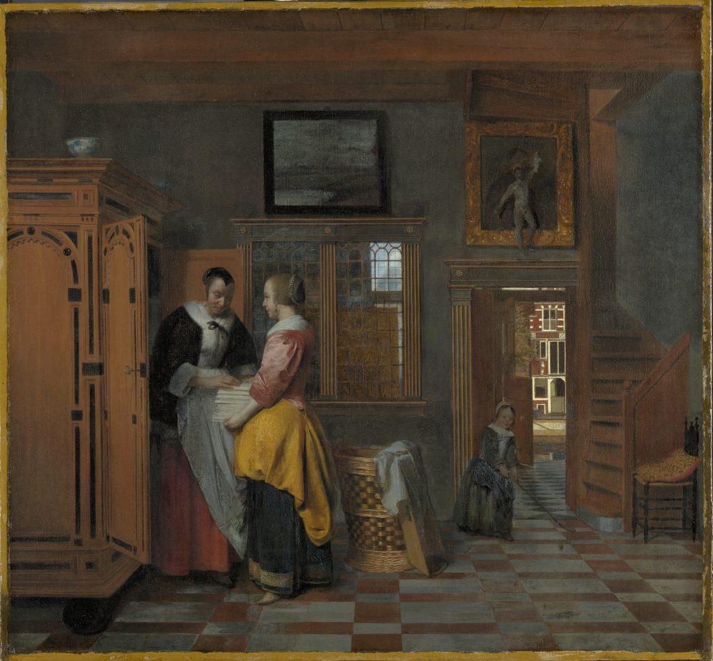 Pieter de Hooch, Interior with Women in front of a Linen Cupboard (1663). Courtesy of the Rijksmuseum, Amsterdam.