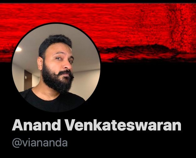 Screenshot of Twitter profile of Anand Venkateswaran, aka Twobadour.