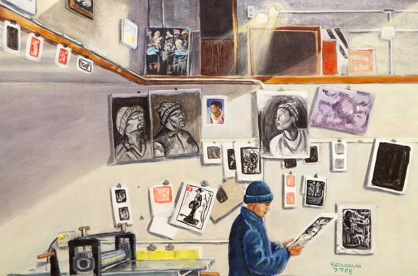 Ronnie Goodman, <em>San Quentin Arts in Corrections Art Studio</em> (2008), detail. Collection of Prison Arts Project, William James Association.