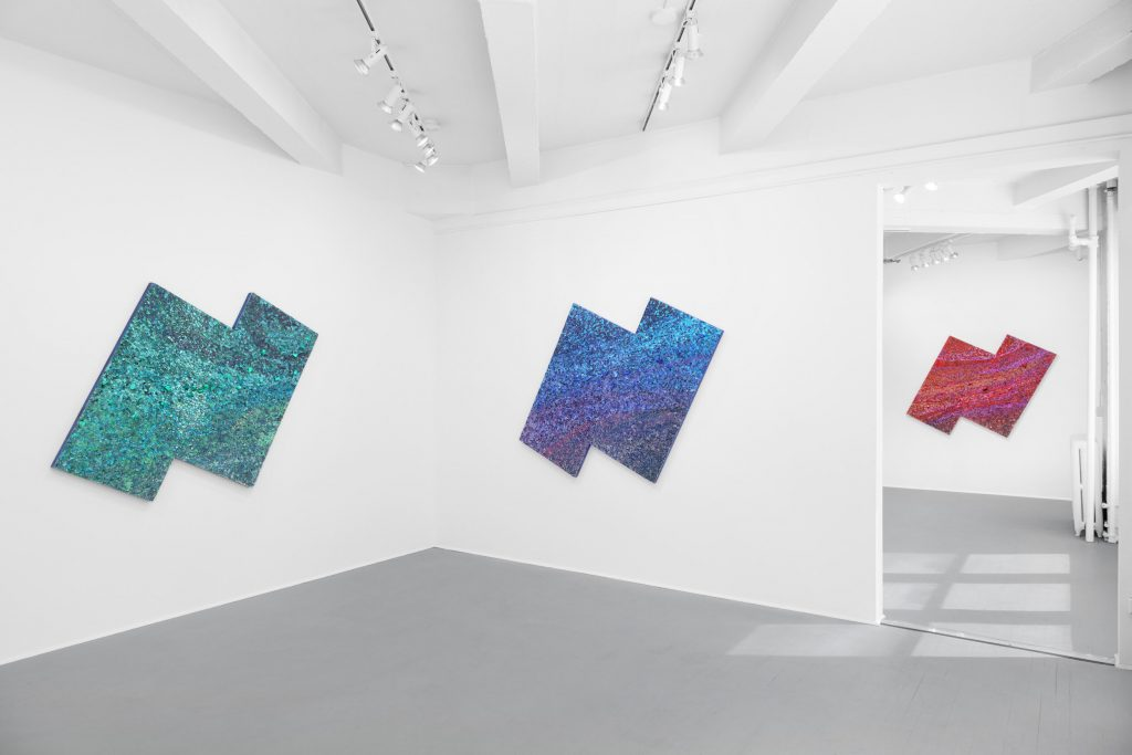 """Installation view """"Somewhere Under the Rainbow / The Sky is Blue and What am I Glass am I"""" (2021). Courtesy of False Flag."""