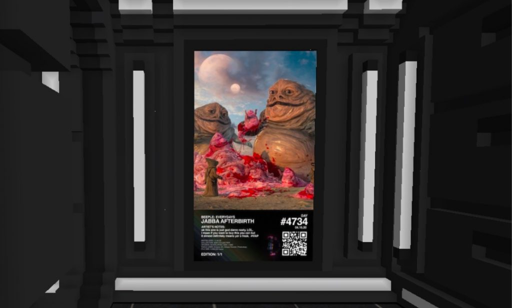 Beeple's <em>Jabba's Afterbirth</em> displayed in the B.20 Museum in CryptoVoxels.