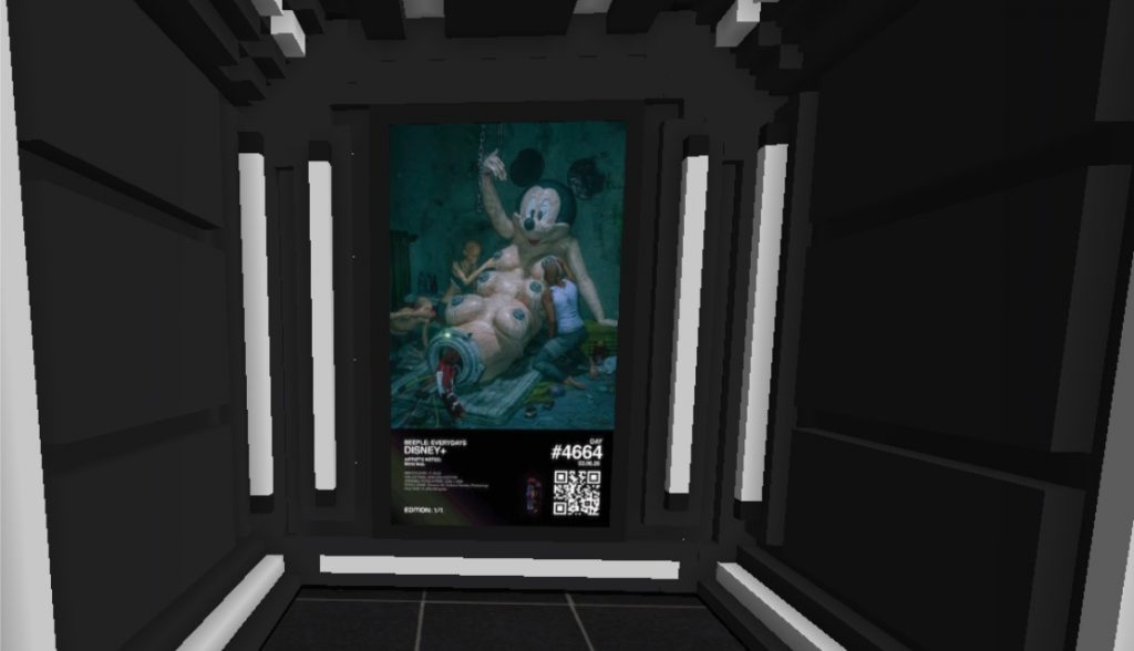 Beeple's <em>Disney+</em> on view in the B.20 Museum in CryptoVoxels.