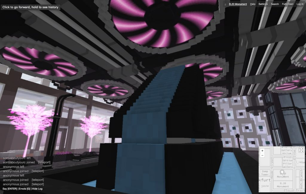 Screenshot of the lobby of the B.20 Museum in CryptoVoxels.