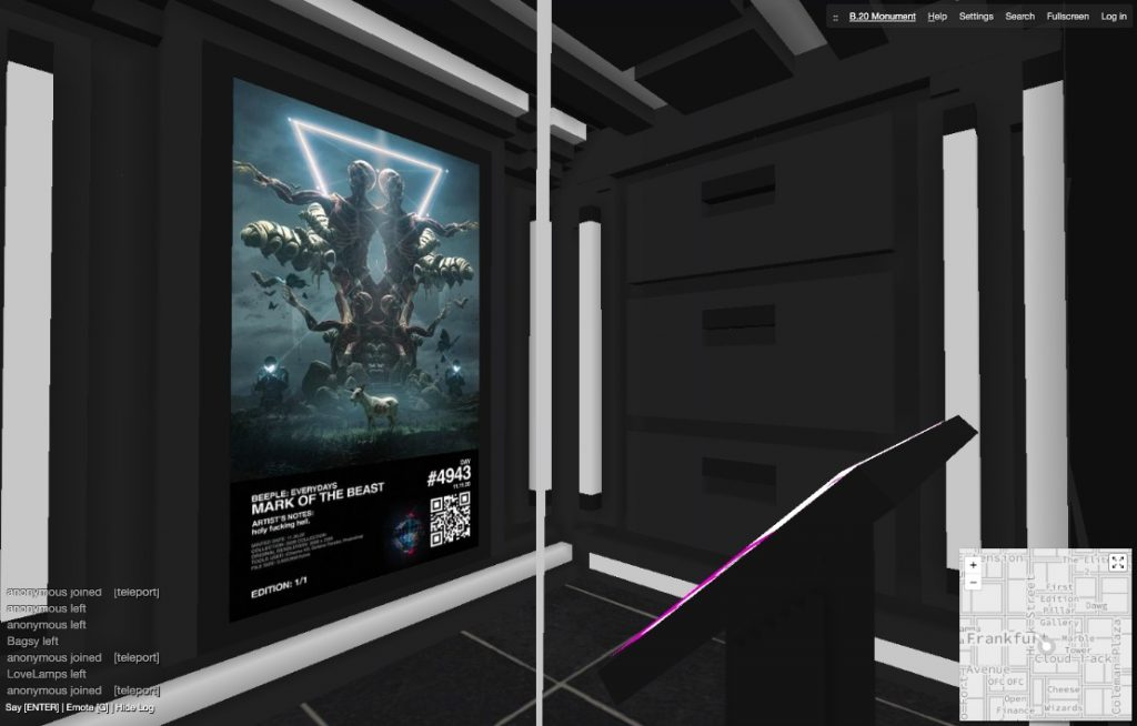 Screenshot of Beeple's <em>Mark of the Beast</em> on view in Gallery D of the B.20 Museum in CryptoVoxels.