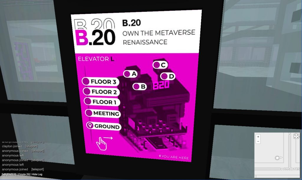Screenshot of the map of the museum in the B.20 Museum elevator.