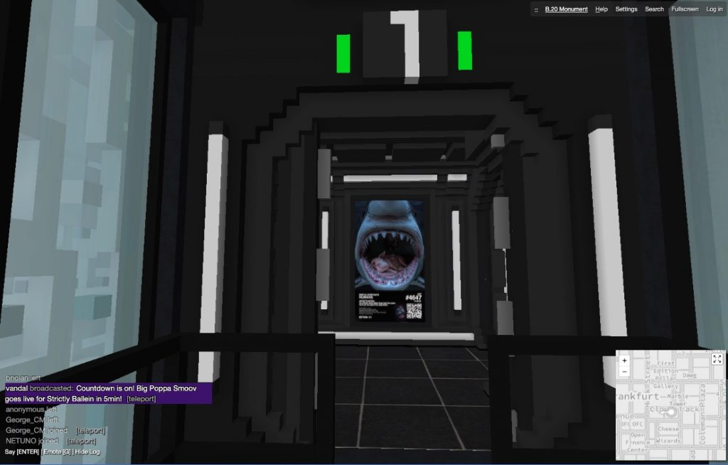 Exiting the elevator on Floor 1 of the B.20 Museum in CryptoVoxels.