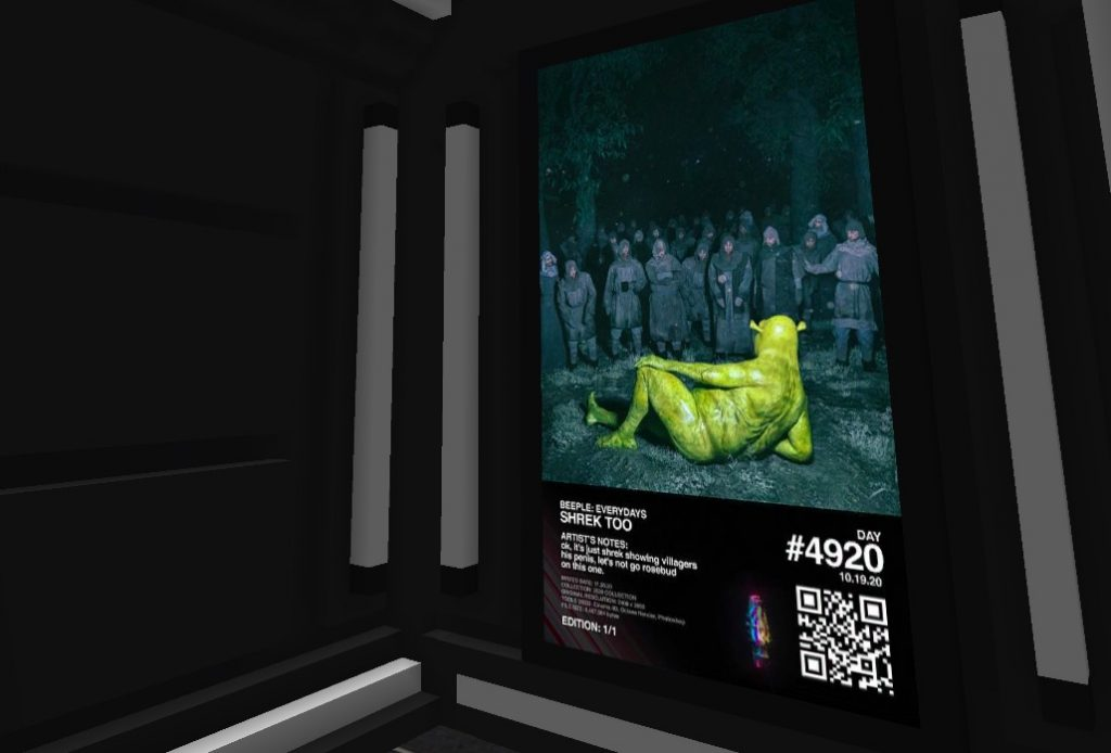 Screenshot of Beeple's Shrek Too on display in the B.20 Museum.