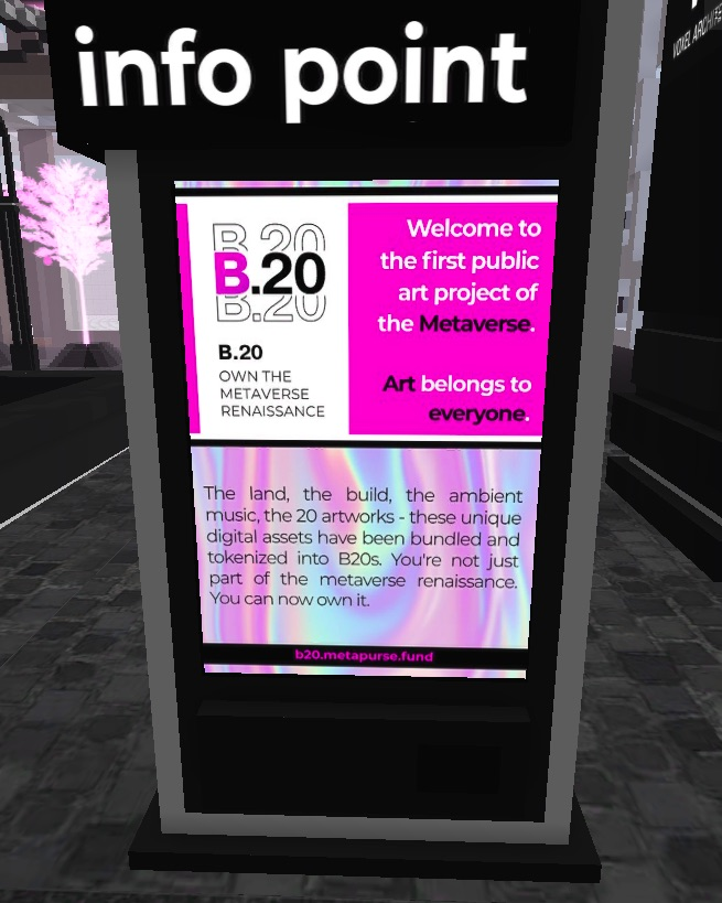 Screenshot of an Info Point in the B.20 Museum in CryptoVoxels.