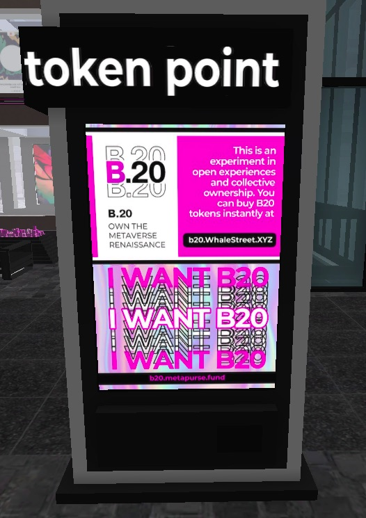 Screenshot of the Token Point kiosk in the B.20 Museum within CryptoVoxels.