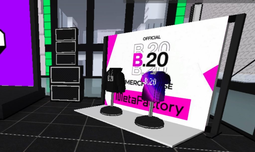 B.20 merchandise at the B.20 Museum in CryptoVoxels.