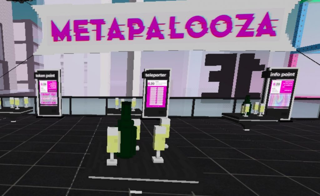 """The """"Meeting"""" area of the B.20 Museum in CryptoVoxels."""