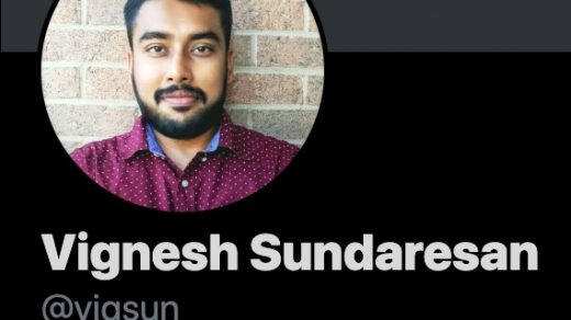 Screenshot of the Twitter profile of Vignesh Sundaresan, aka Metahovan.