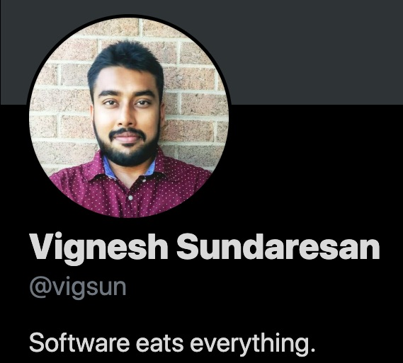 Screenshot of the Twitter profile of Vignesh Sundaresan, aka Metahovan.