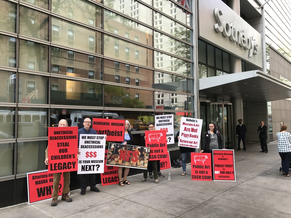 Protesters outside Sotheby's ahead of this morning's American Art sale, which included works being deaccessioned from the Berkshire Museum. Image courtesy of Save the Art—Save the Museum
