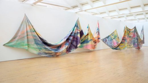 Sam Gilliam, <i>Double Merge</i> (1968). Installation view, Dia:Beacon, Beacon, New York, 2019. © Sam Gilliam/Artists Rights Society (ARS), New York. Photo: Bill Jacobson Studio, New York. Courtesy of Dia Art Foundation.