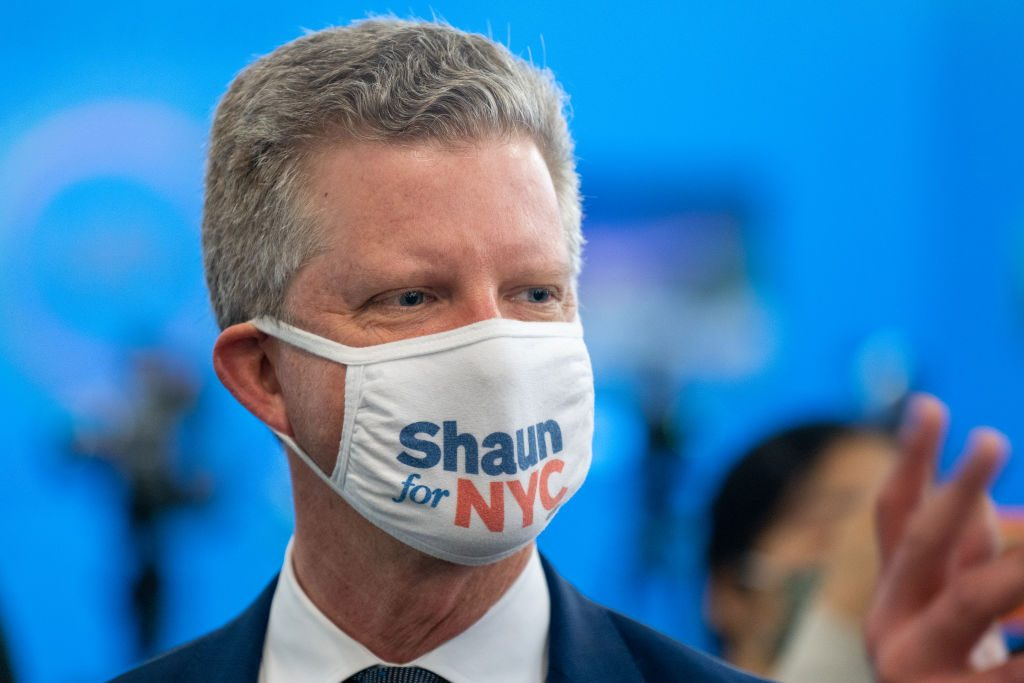 New York City Mayoral candidate Shaun Donovan speaks during a press conference at the National Action Network's House of Justice to denounce the rise of attacks against Asian Americans on March 18, 2021 in New York City. Photo by David Dee Delgado/Getty Images.
