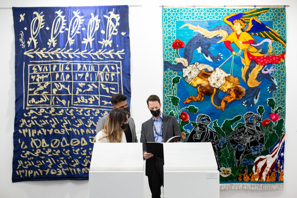 Installation view of Aicon Art Gallery at Art Dubai 2021. Courtesy of Art Dubai.