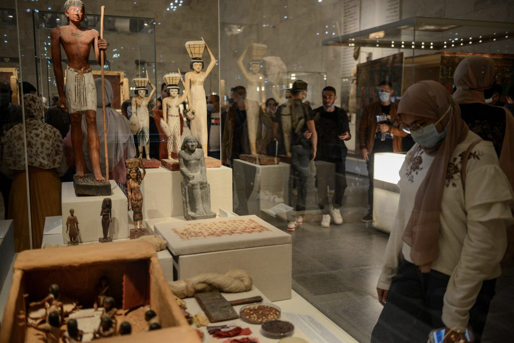 Pharaonic artifacts displayed at the new National Museum of Egyptian Civilization. Photo by Jonathan Rashad/Getty Images.