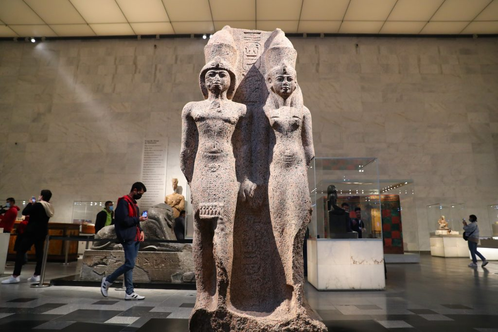 People visit the new National Museum of Egyptian Civilization in Cairo, Egypt, April 4, 2021. Photo by Sui Xiankai/Xinhua via Getty Images.